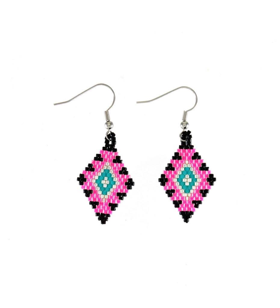 *TC Pink, Black, Green, Silver Beaded Diamond Shape Earrings