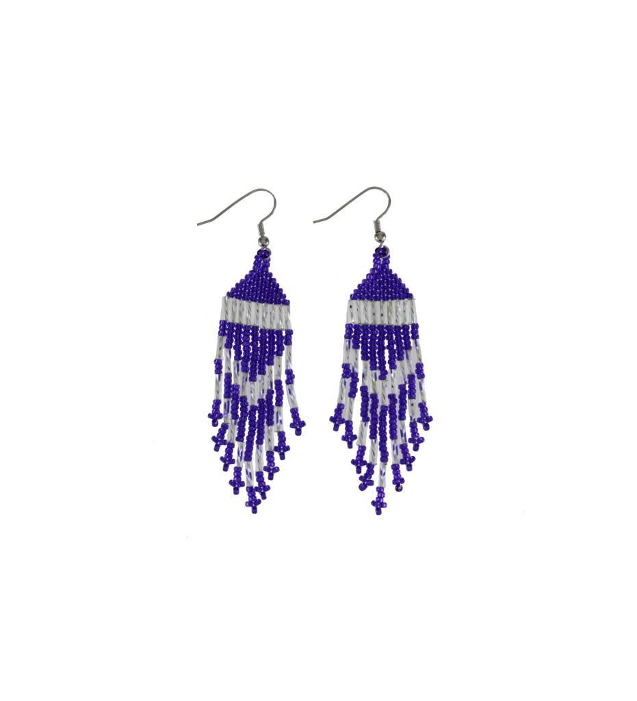 *TC Purple & Silver Beaded Earrings