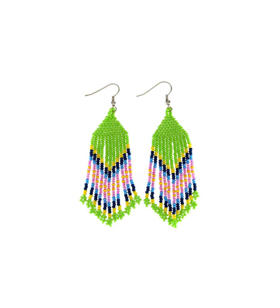 *TC Pink, Blue, Yellow, Green Long Strand Beaded Earrings