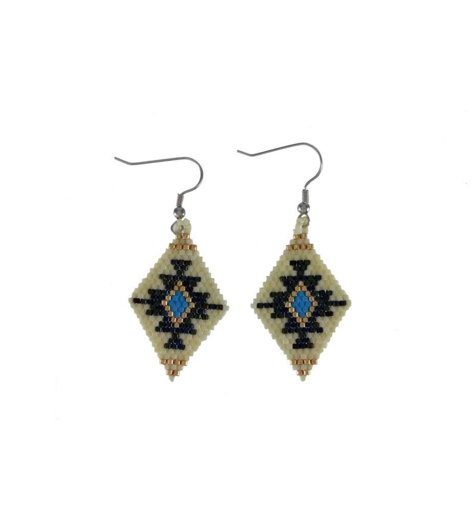 *TC Black, Blue, Gold, White Beaded Diamond Shape Earrings