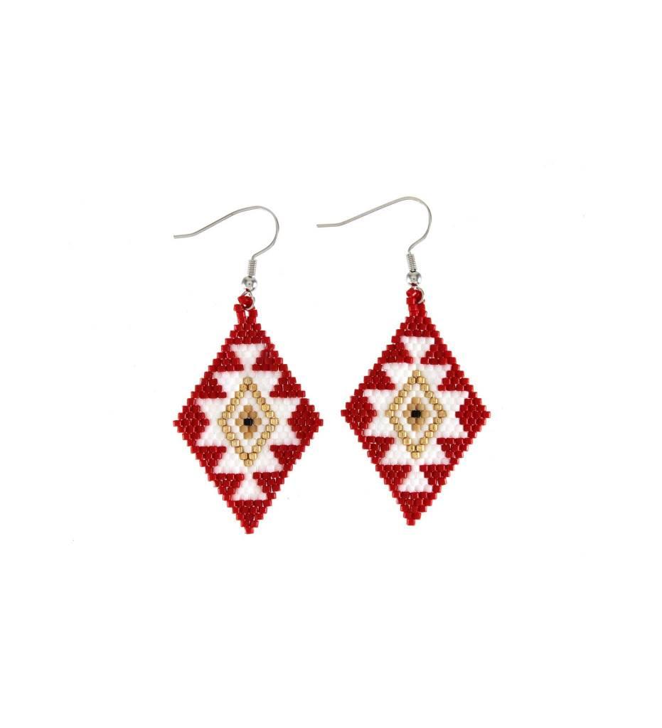 *TC Red, White, Gold Beaded Diamond Shape Earrings