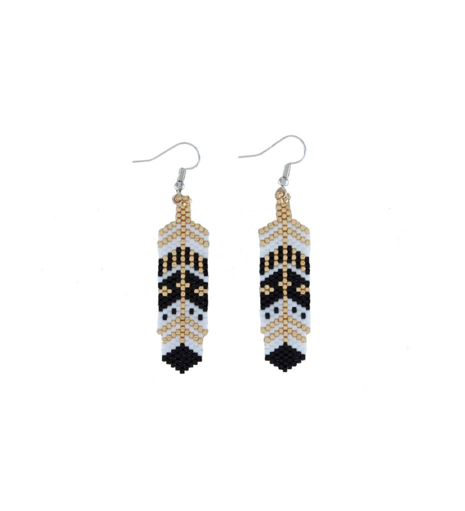 *TC Gold, Black, White Feather Beaded Earrings