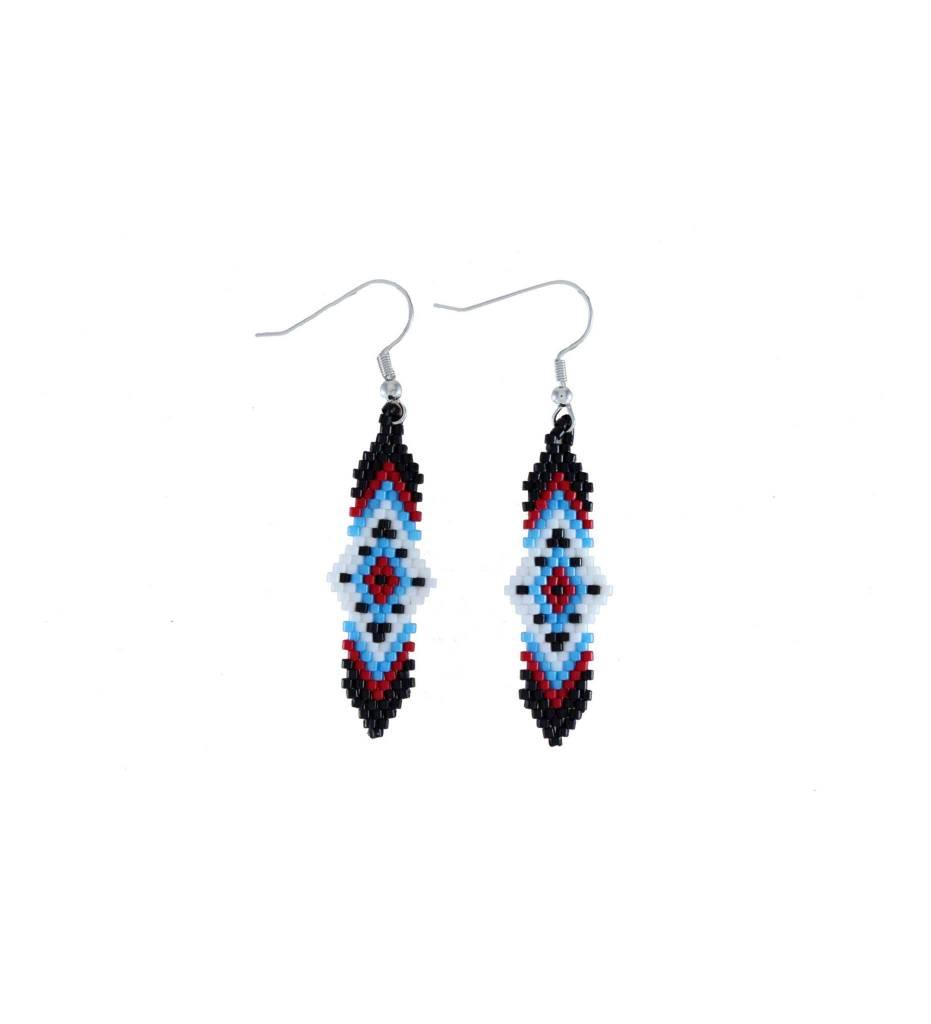 *TC Black, Red, Blue, White Beaded Earrings