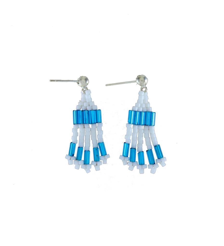 *TC Small Blue & White Beaded Earrings