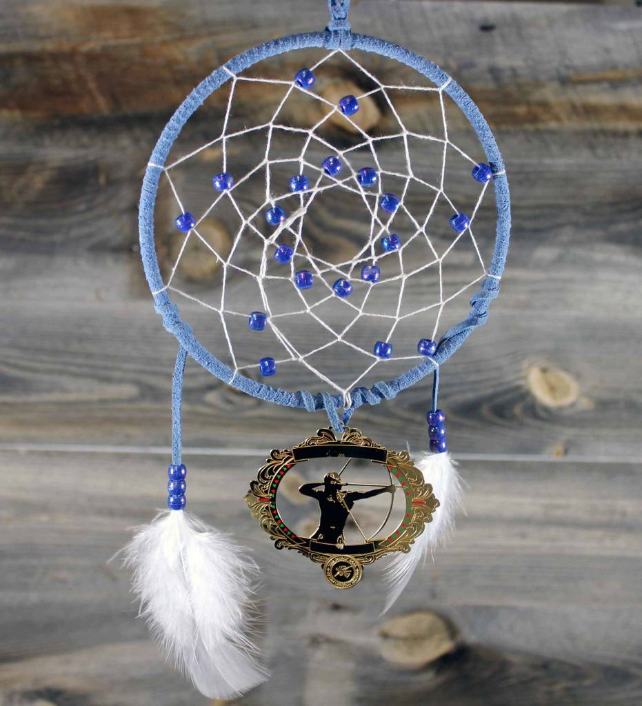 "BD 6"" Blue with White Web & Red Warrior Ornament Dreamcatcher"