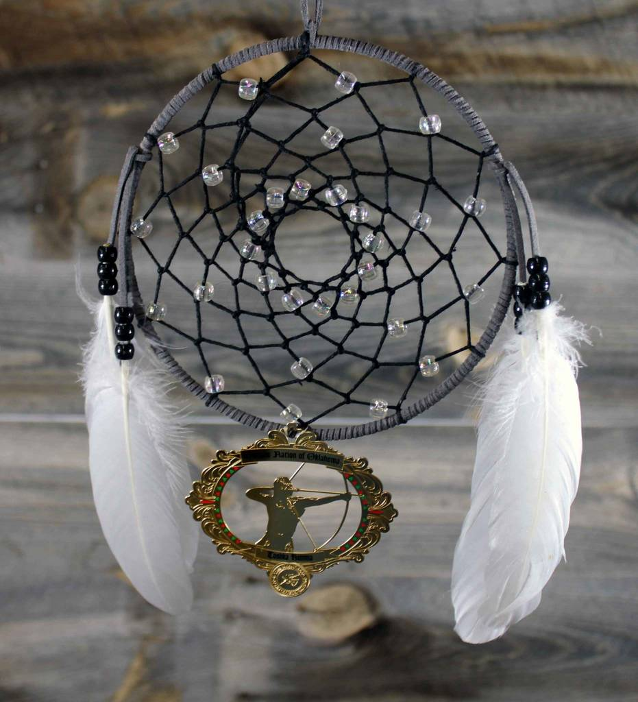 """BD 6"""" Gray with Black Web & Red Warrior Ornament Dreamcatcher"""