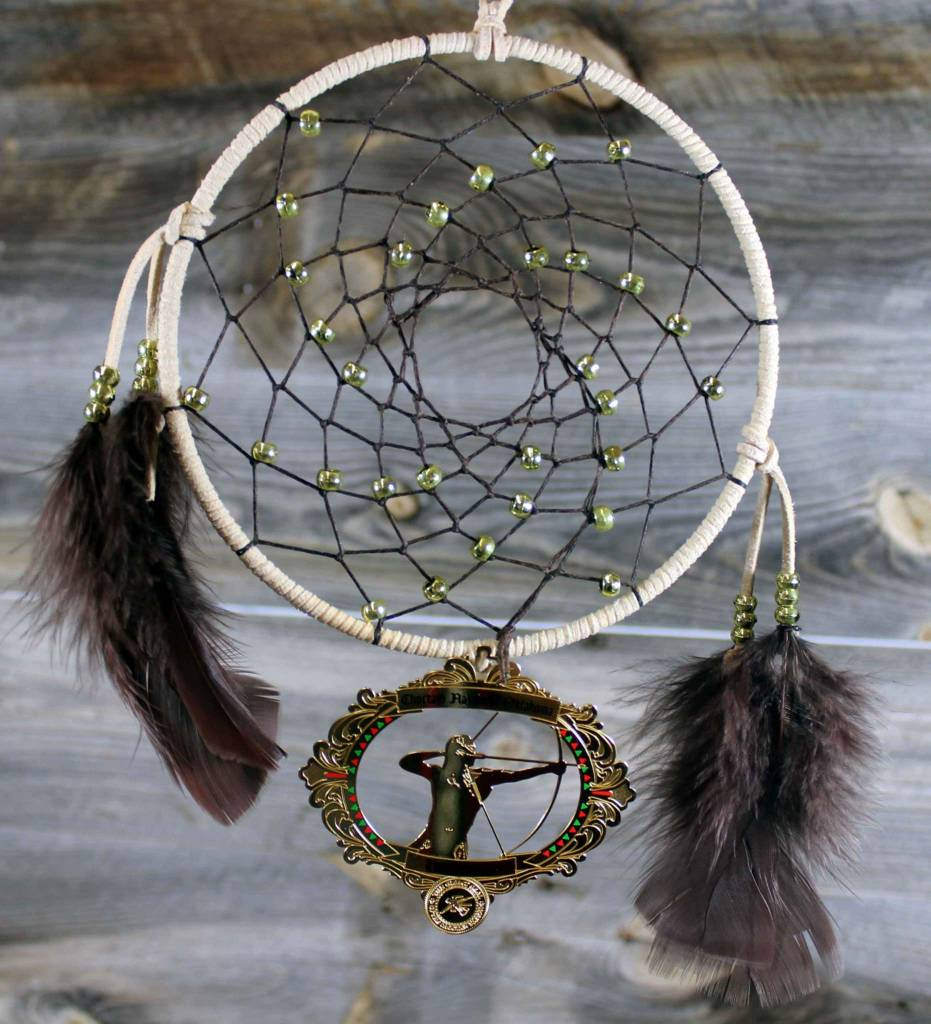 "BD 6"" Peach with Brown Web & Red Warrior Ornament Dreamcatcher"
