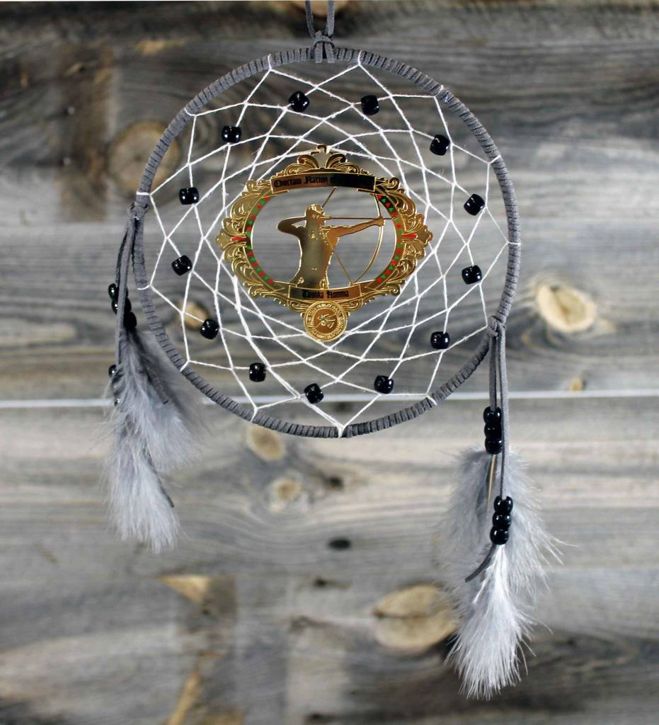 "BD 6"" Gray with White Web & Red Warrior Ornament Dreamcatcher"