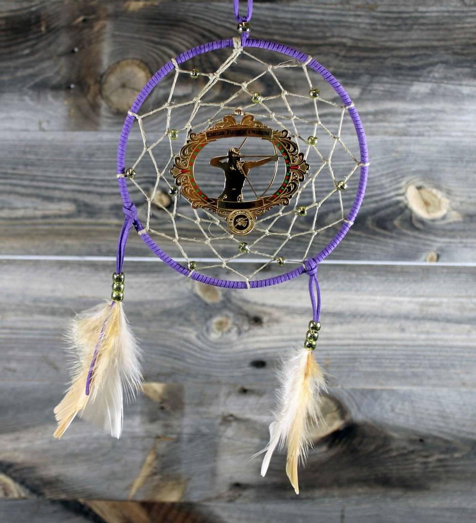 "BD 6"" Purple with Tan Web & Red Warrior Ornament Dreamcatcher"