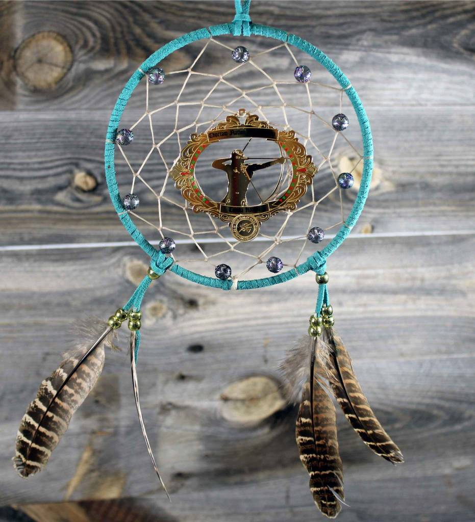 """BD 6"""" Turquoise with Tan Web & Red Warrior Ornament Dreamcatcher"""