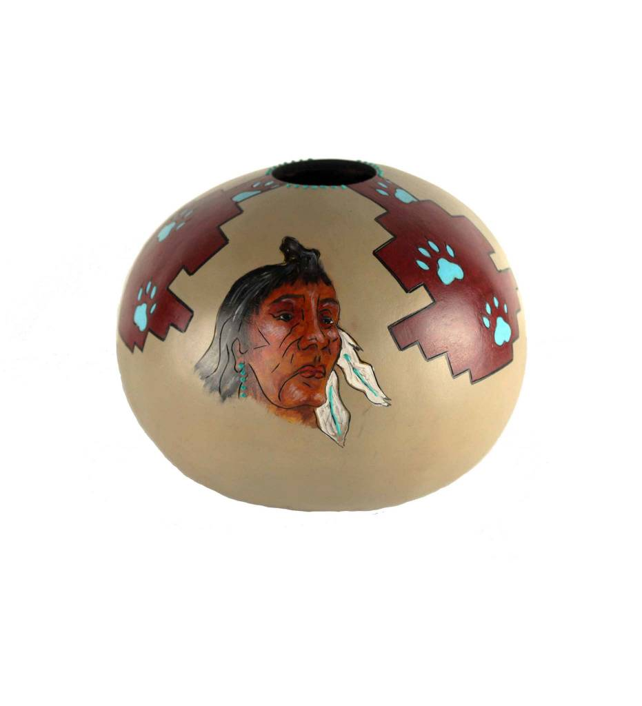 *KB Gourd Native Faces & Turquoise Paw Prints Vase