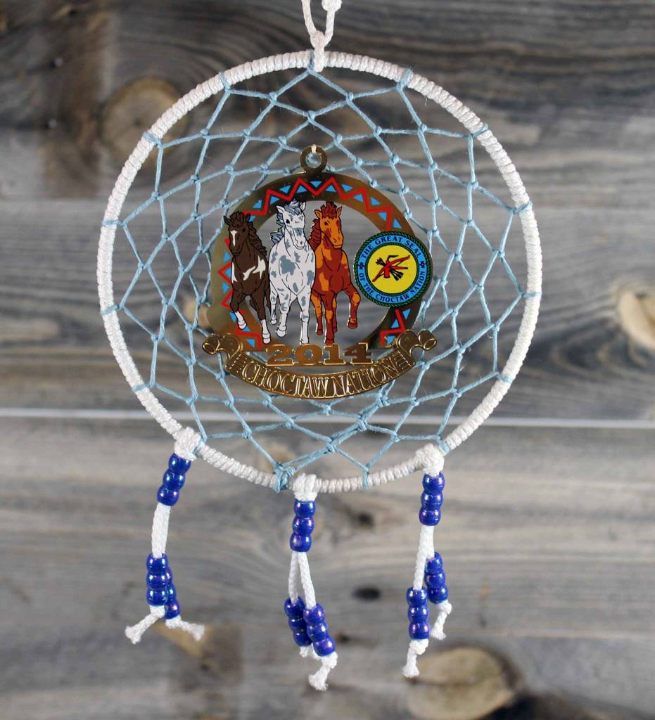 """BD 6"""" White with Blue Web & Choctaw Ponies Ornament Dreamcatcher"""