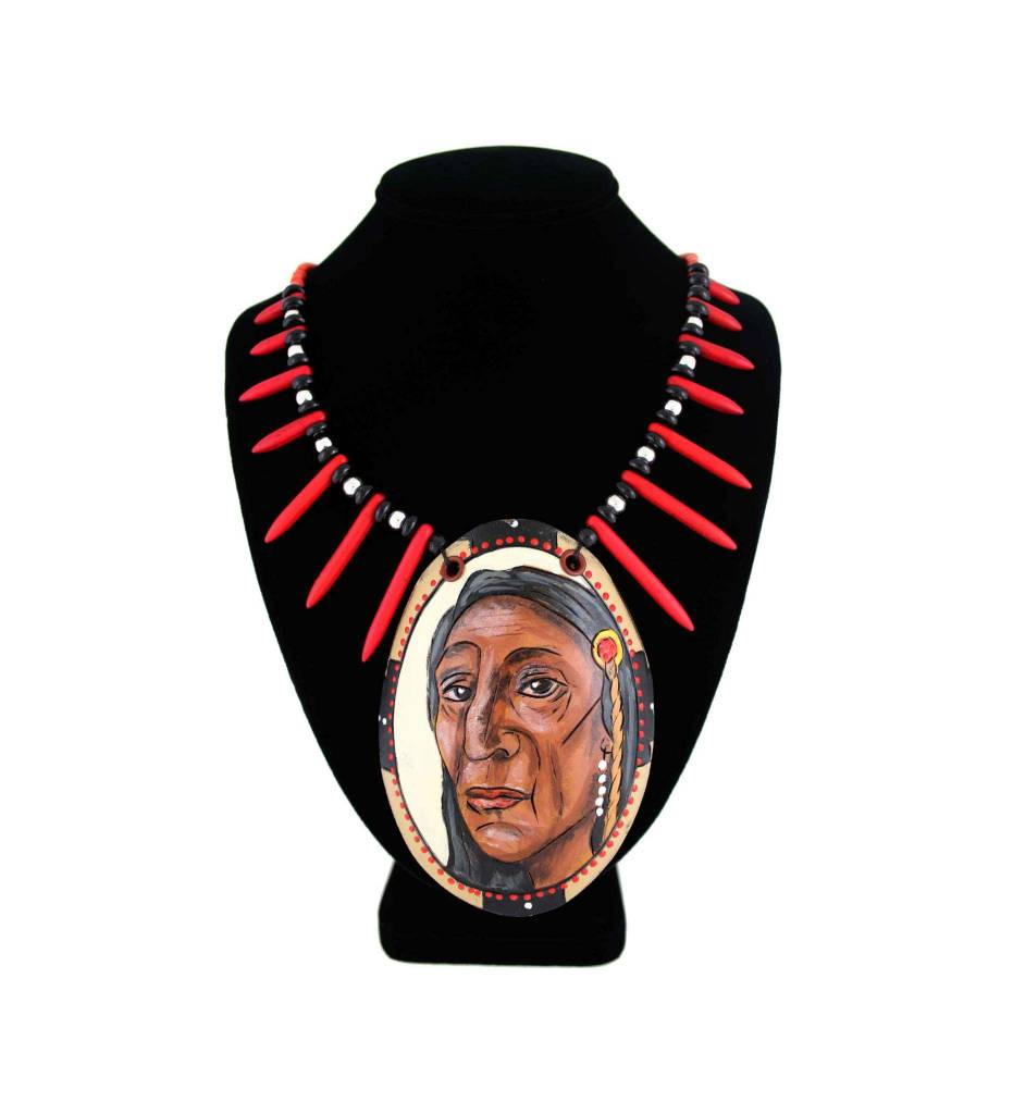 *KB Gourd Native Face Pendant with Red, Black, Orange Beaded Necklace