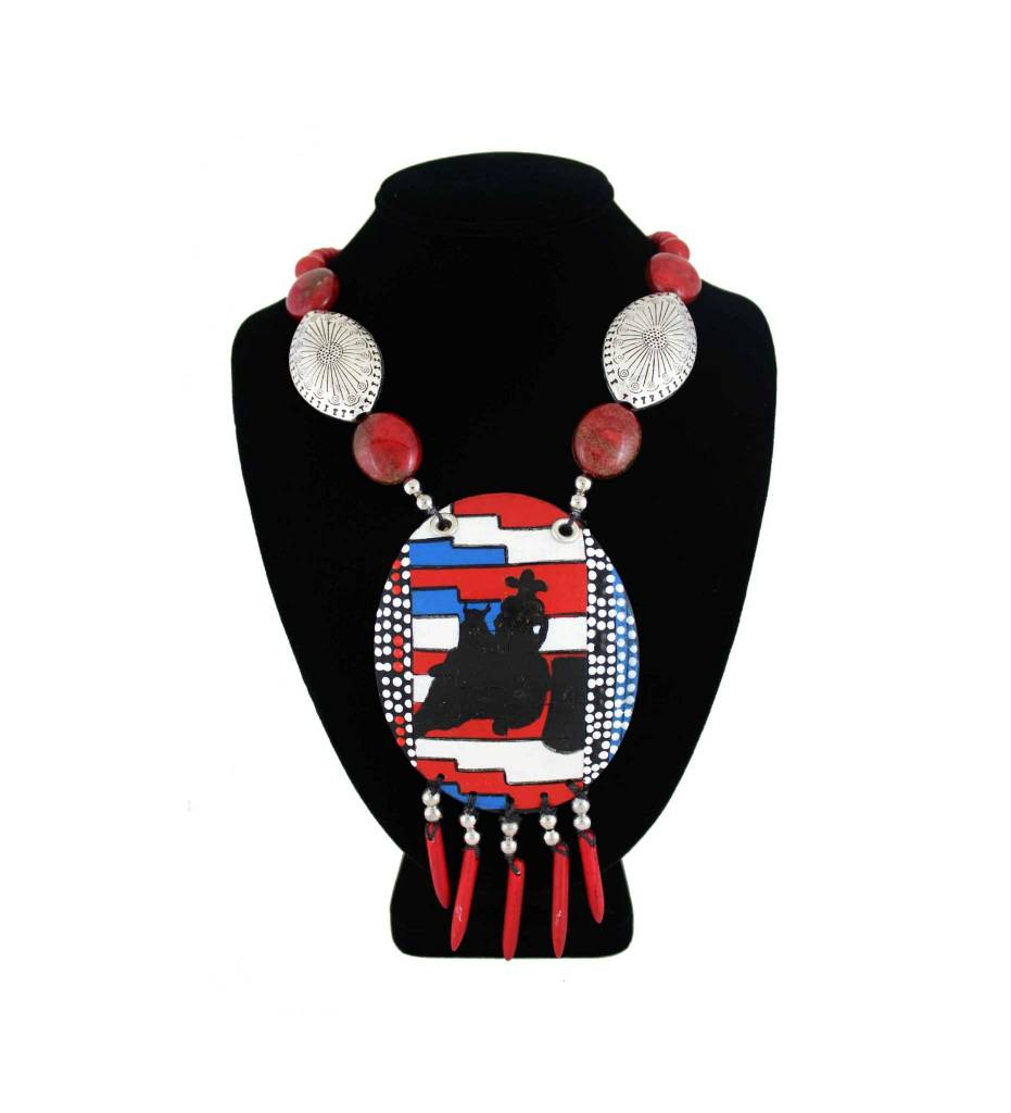 *KB Gourd Barrel Racer Pendant with Red, Silver Beads Necklace