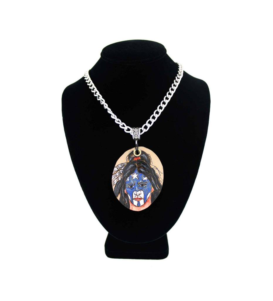 *KB Gourd Indian Painted Face Pendant with Silver Chain Necklace