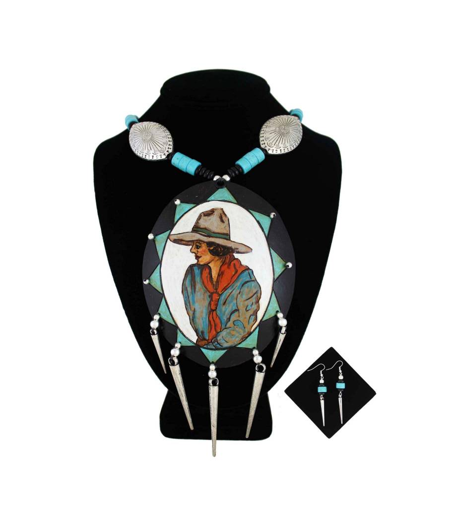 *KB Gourd Cowgirl Pendant with Black, Silver, Turquoise Beads Necklace & Earrings