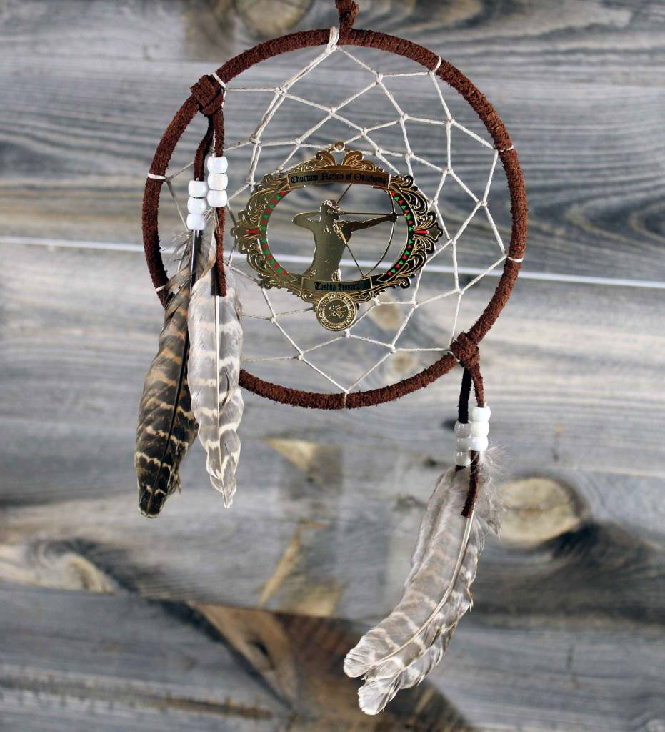 """BD 6"""" Brown with Tan Web & Red Warrior Ornament Dreamcatcher"""