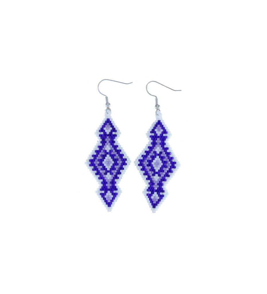 *TMC Purple & White Beaded Earrings