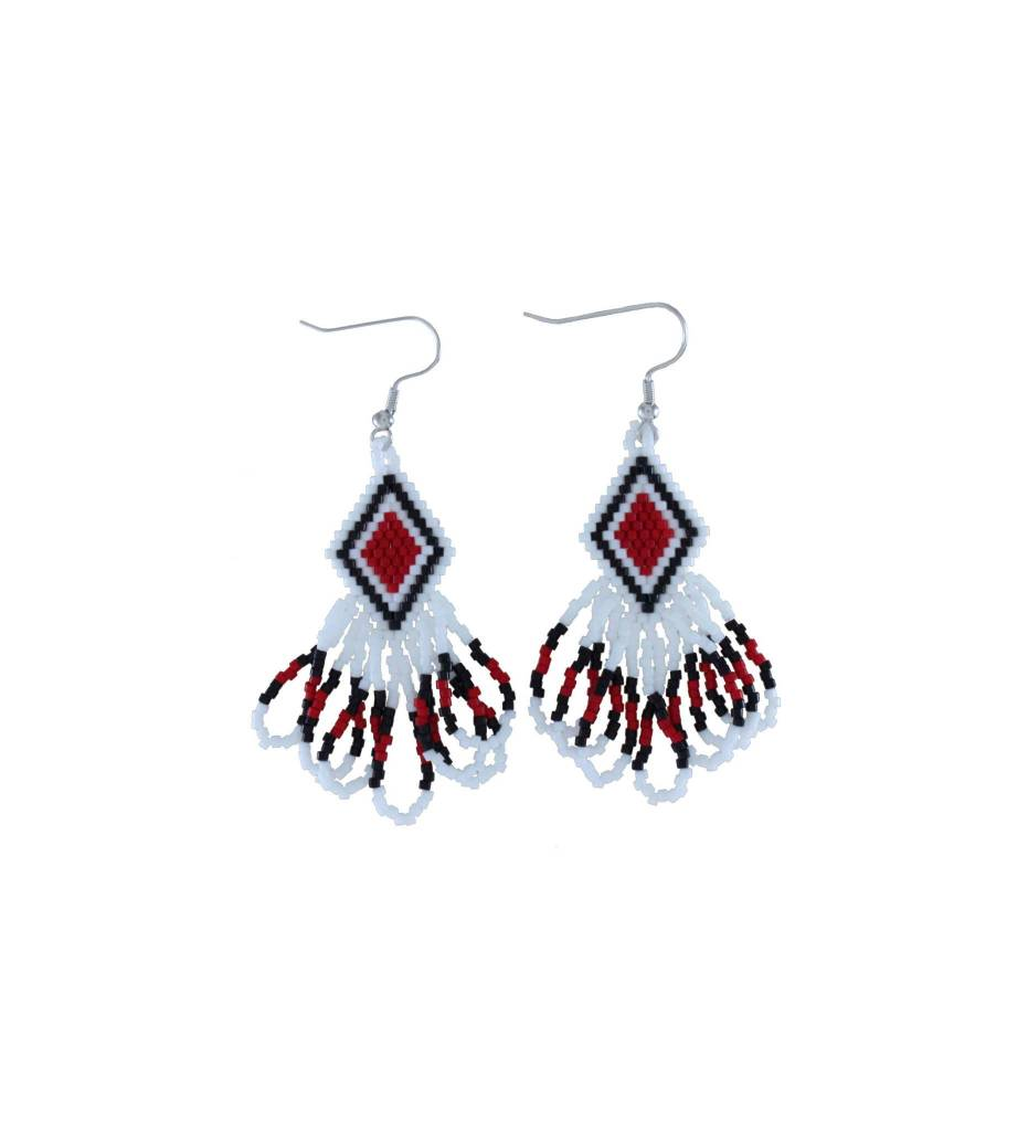 *TMC Red, Black, White Diamond Shape with Loop Beaded Earrings