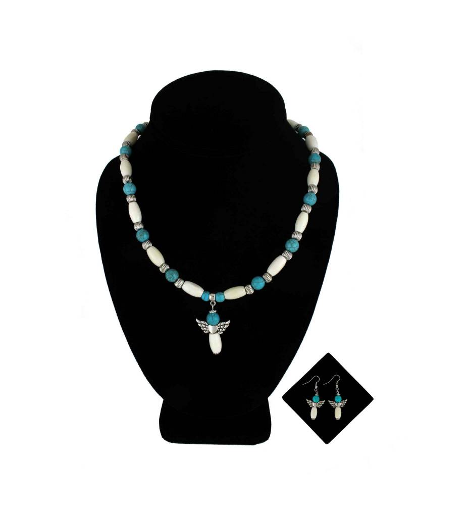 *BG Turquoise, Bone & Angel Pendant Necklace & Earrings Set