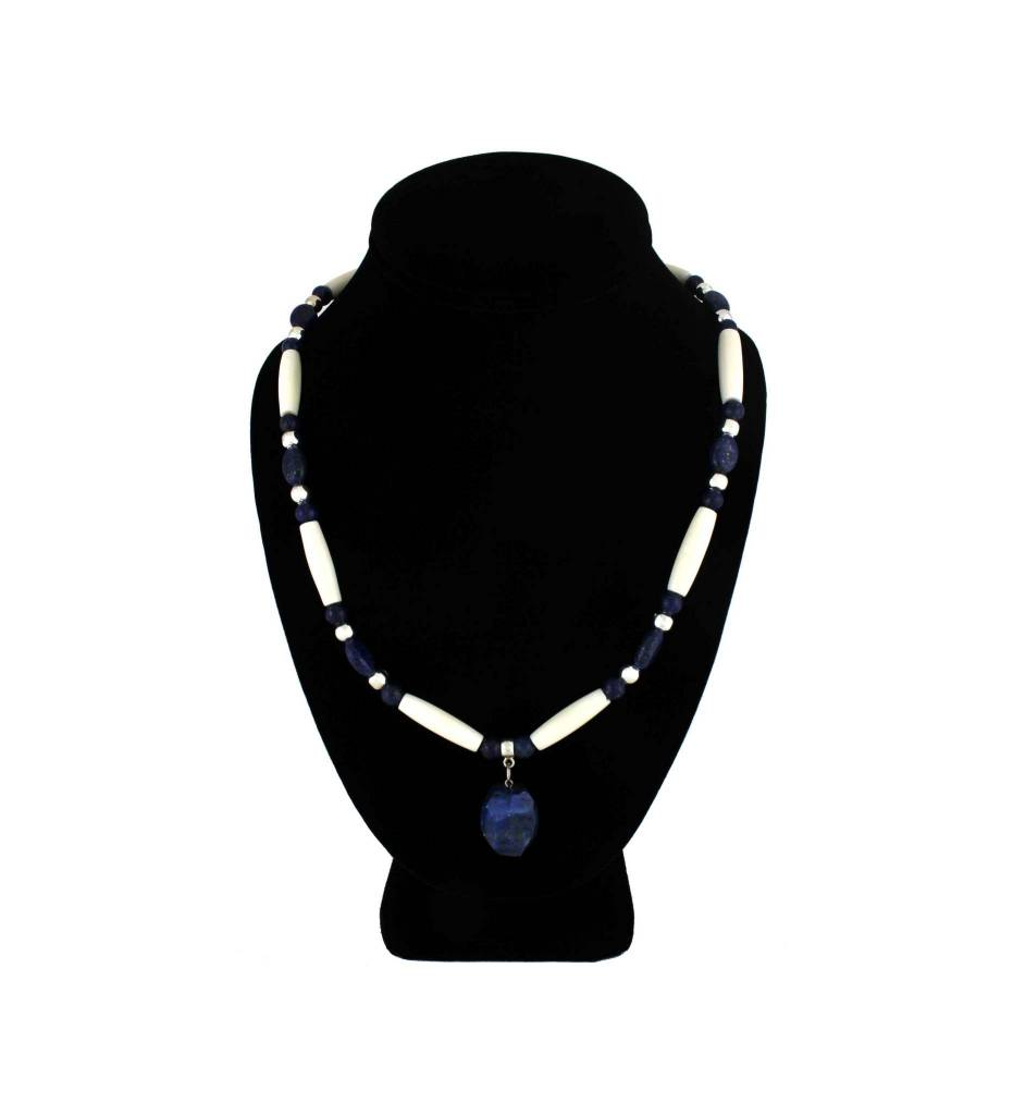 *BG Blue Lapis Stone Pendant with Blue, Bone Necklace