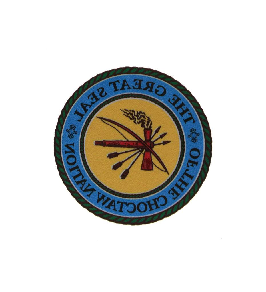 """THE GREAT SEAL OF THE CHOCTAW NATION"" 3 inch decal FRONT ADHESIVE"