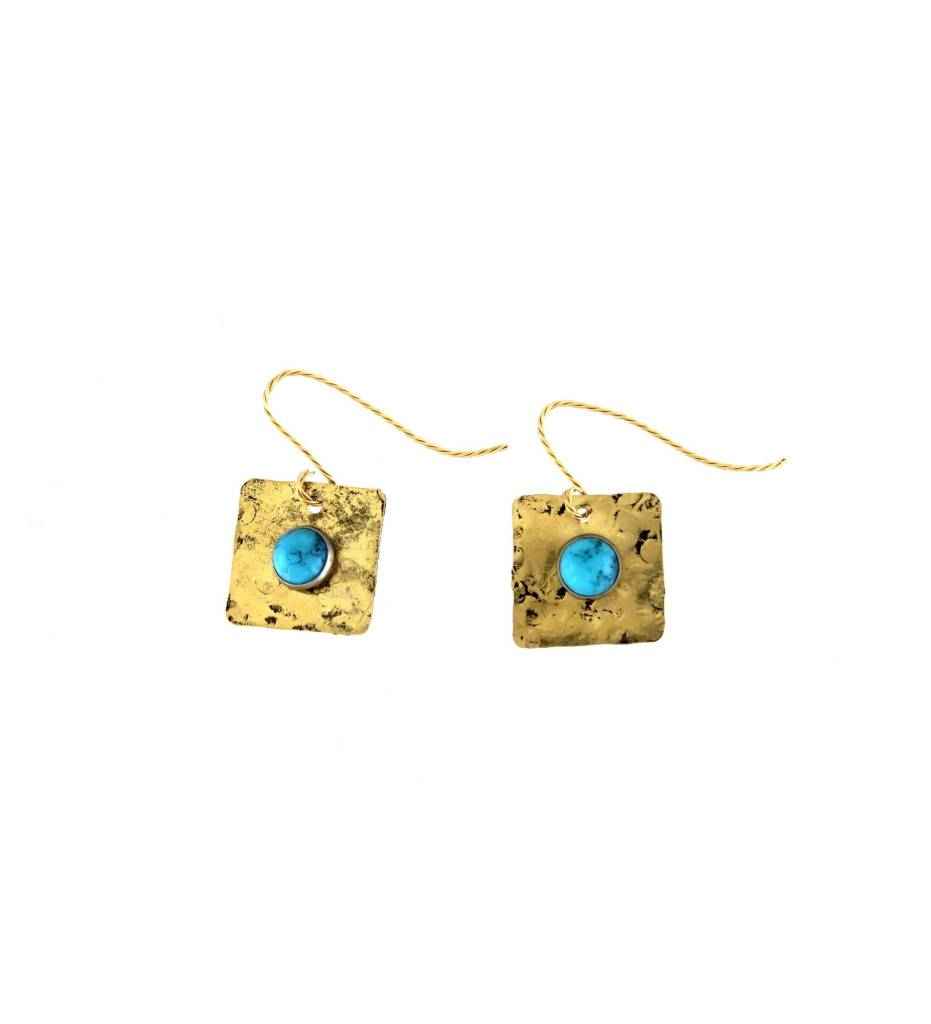 *GJ Hammered Brass with Turquoise Rivet Earrings