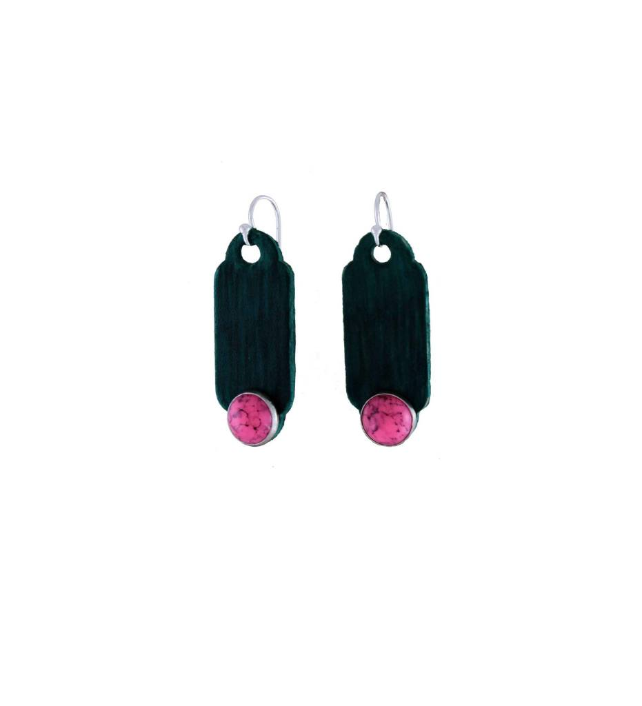 *GJ Green Leather with Pink Turquoise Earrings