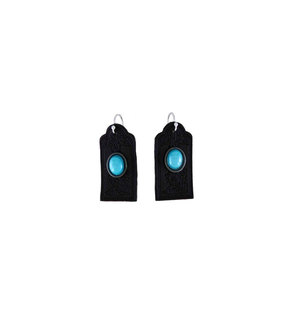 *GJ Leather with Turquoise Cabochon Earrings