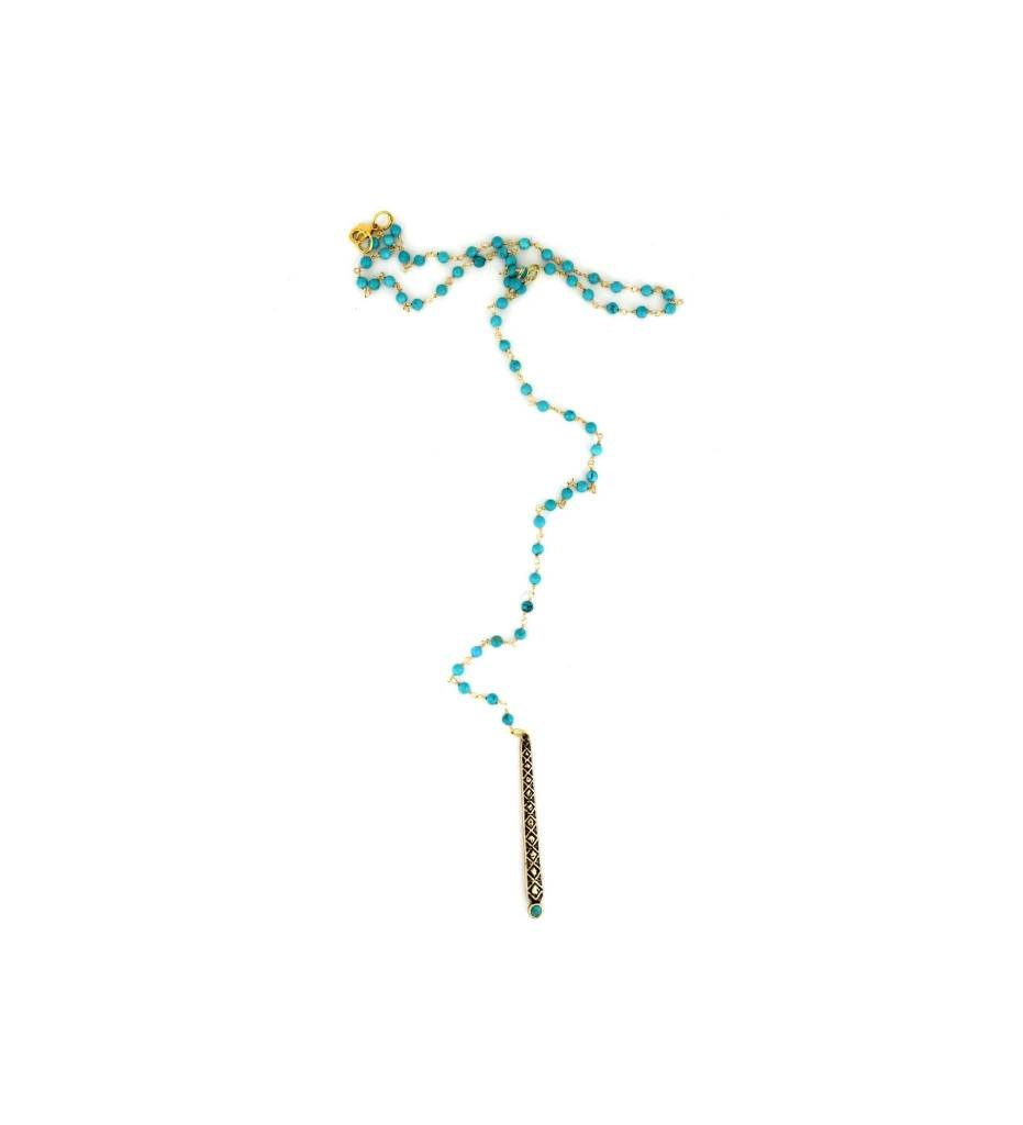*GJ Turquoise Beaded Necklace with Charm