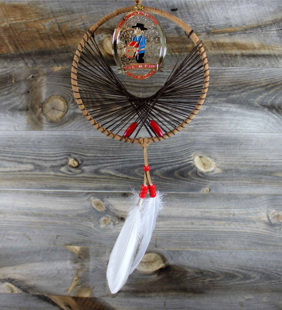 "BD 6"" Tan with Brown Web & Drummer Boy Ornament Dreamcatcher"