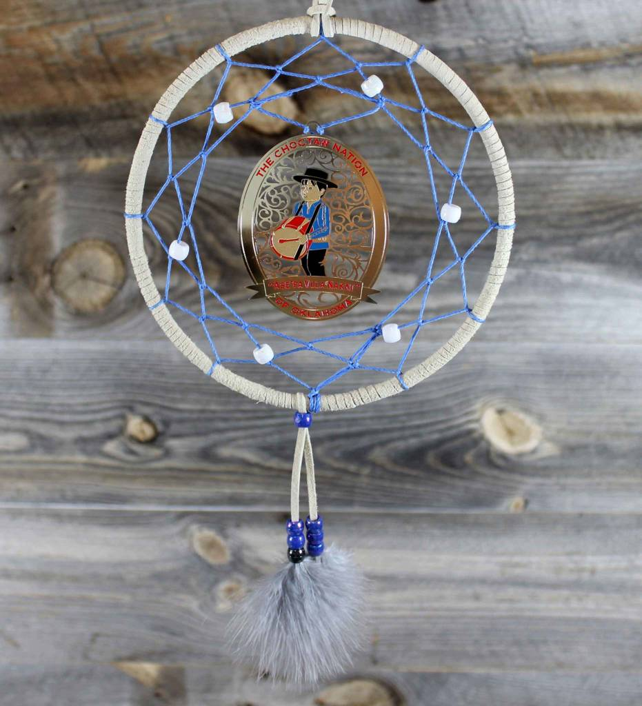 "BD 6"" Tan with Blue Web & Drummer Boy Ornament Dreamcatcher"