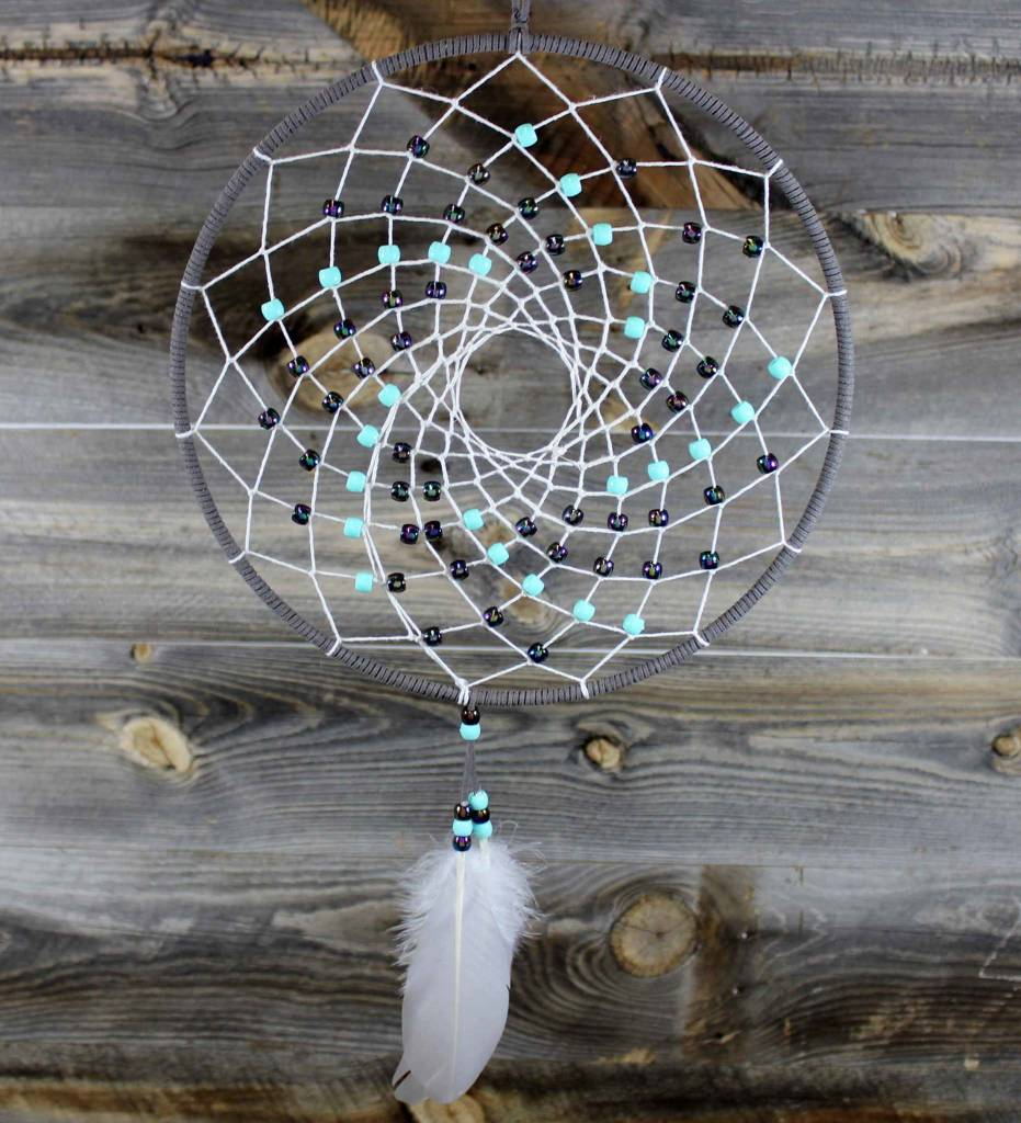 """*BD 10"""" Gray with White Web & Multi Color Beads Dreamcatcher"""