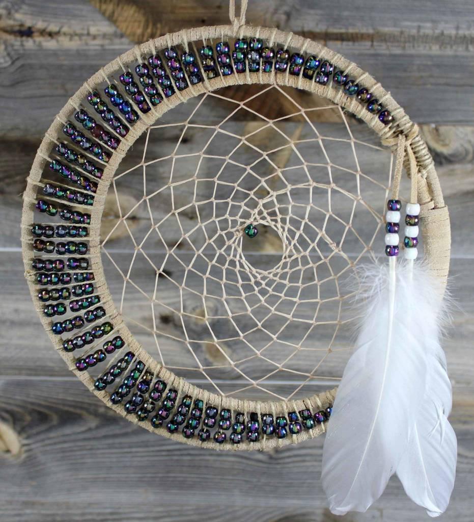"*BD 10"" & 8"" Tan with Peach Web & Multi Color Beads Dreamcatcher"