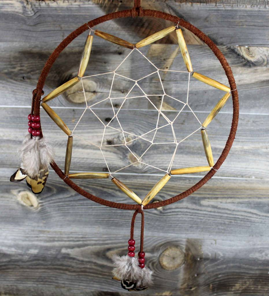 "*BD 10"" Brown with Tan Web & Wooden Beads Dreamcatcher"