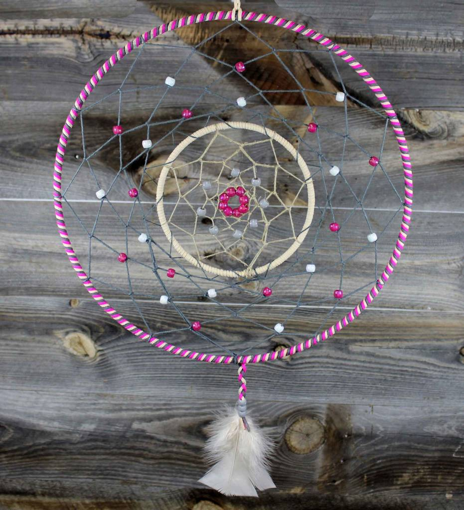 """*BD 10"""" & 5"""" Tri Color with Gray Web & Gray and Pink Beads Dreamcatcher"""