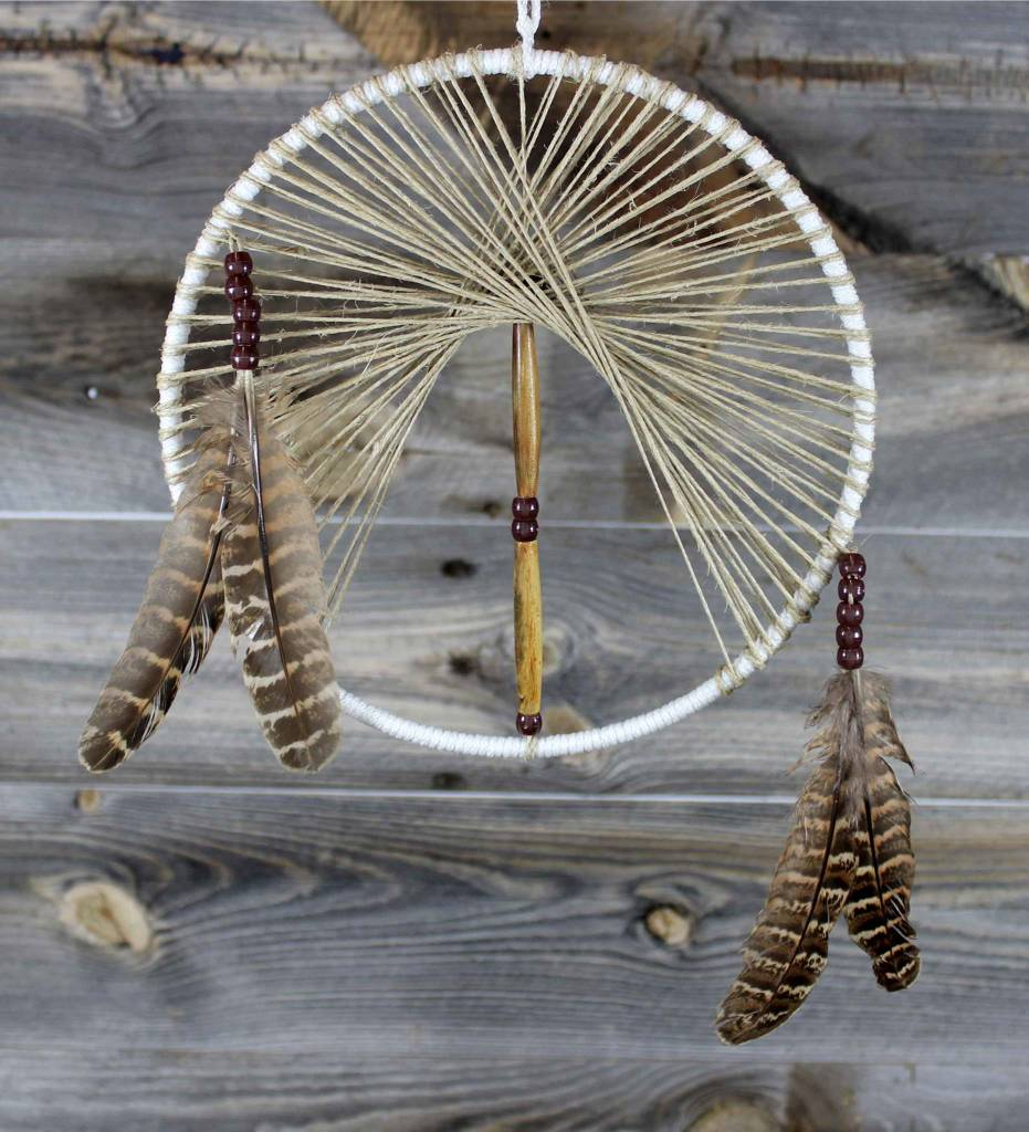 """*BD 8"""" White with Tan Web & Wooden Beads Dreamcatcher"""