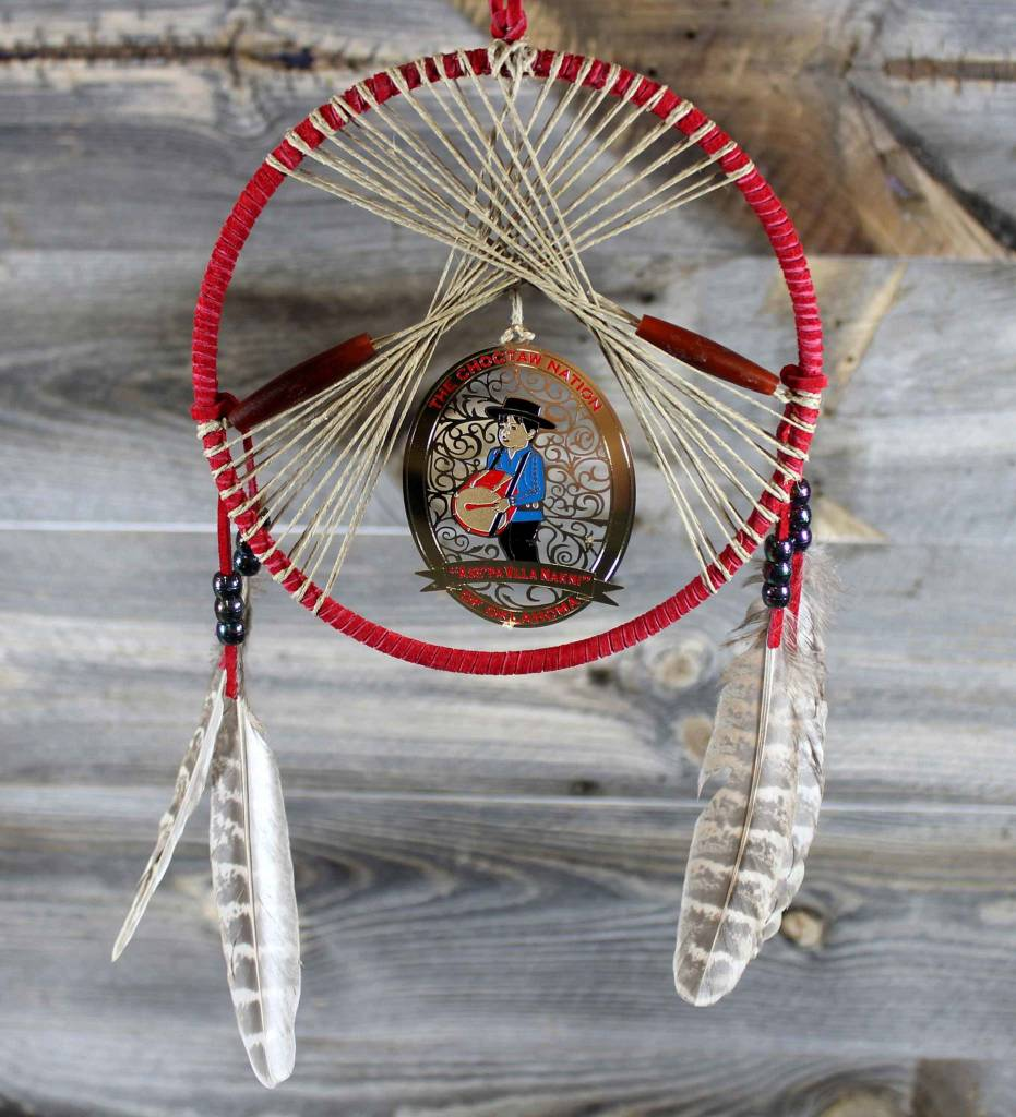 """BD 6"""" Red with Tan Web & Drummer Boy Ornament Dreamcatcher"""