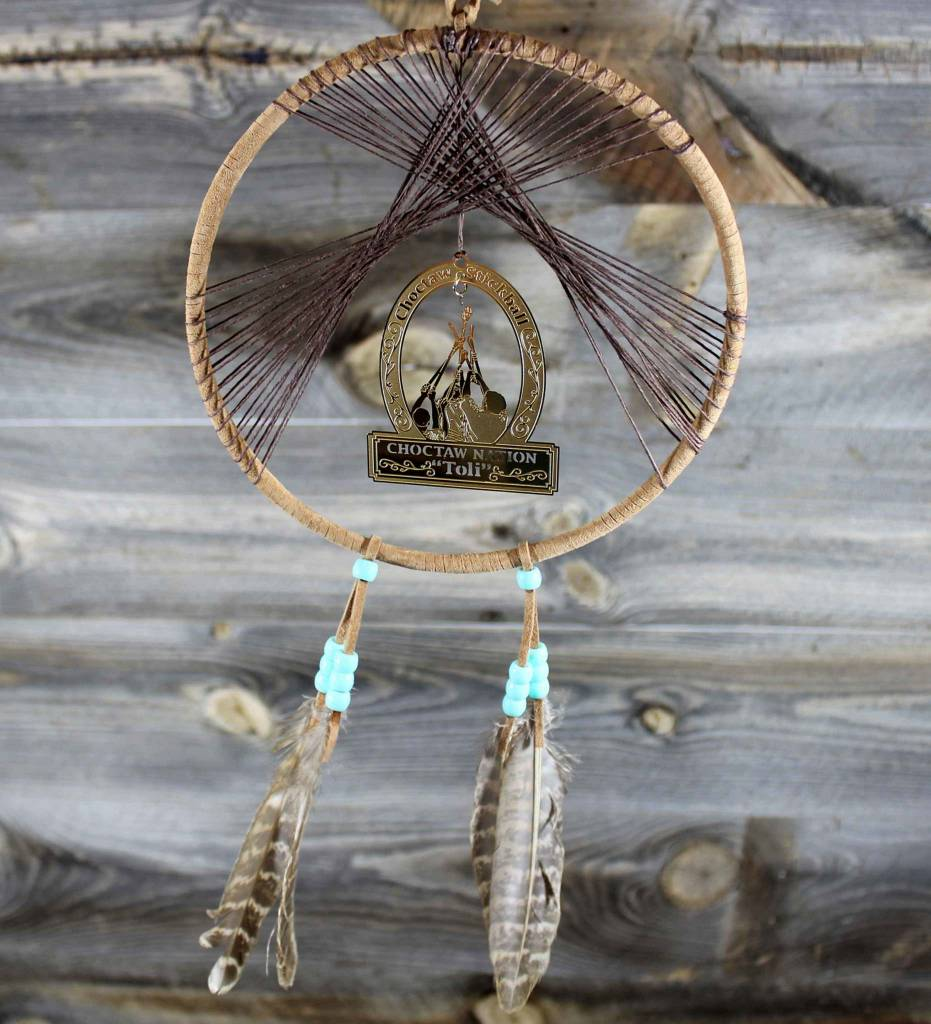 "BD 6"" Tan with Brown Web & TOLI Ornament Dreamcatcher"