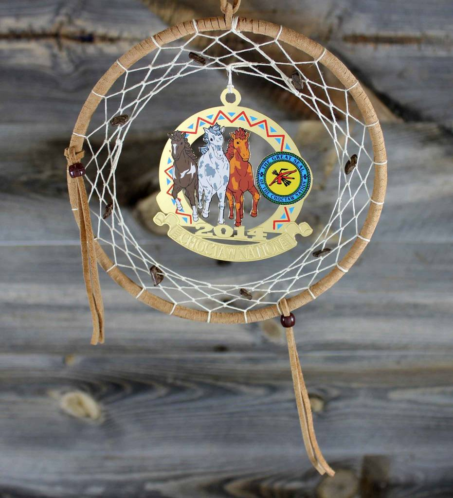 "BD 6"" Tan with Tan Web & Choctaw Ponies Ornament Dreamcatcher"