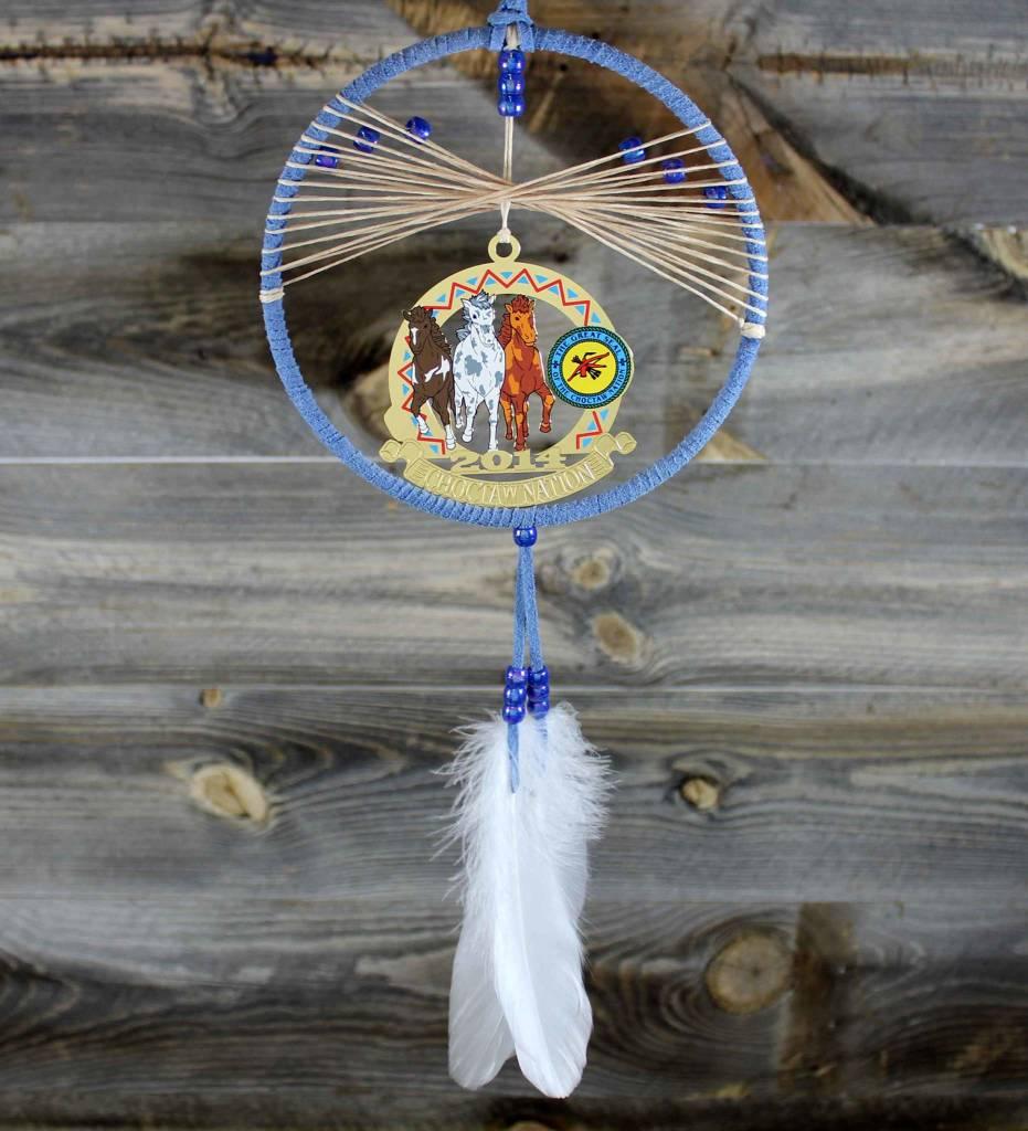 "BD 6"" Blue with Tan Web & Choctaw Ponies Ornament Dreamcatcher"