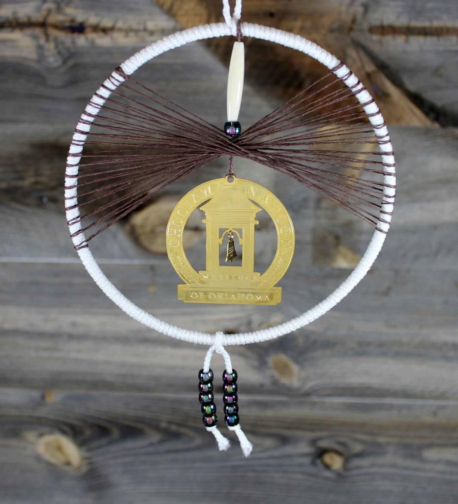 "BD 6"" White with Brown Web & Wheelock Ornament Dreamcatcher"