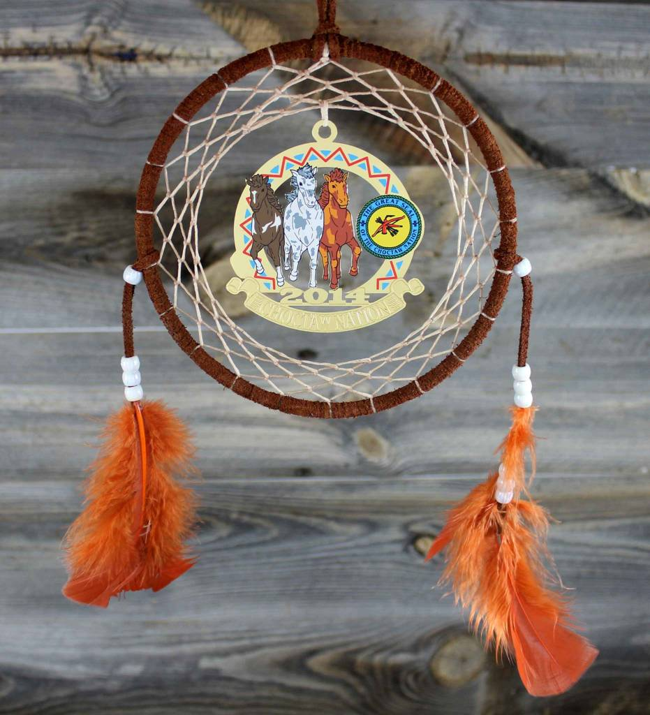 """BD 6"""" Rust with Tan Web & Choctaw Ponies Ornament Dreamcatcher"""