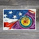 "*JU ""Choctaw seal /American Flag/Stickball"" 14 X 20 1/2 Matted Print"