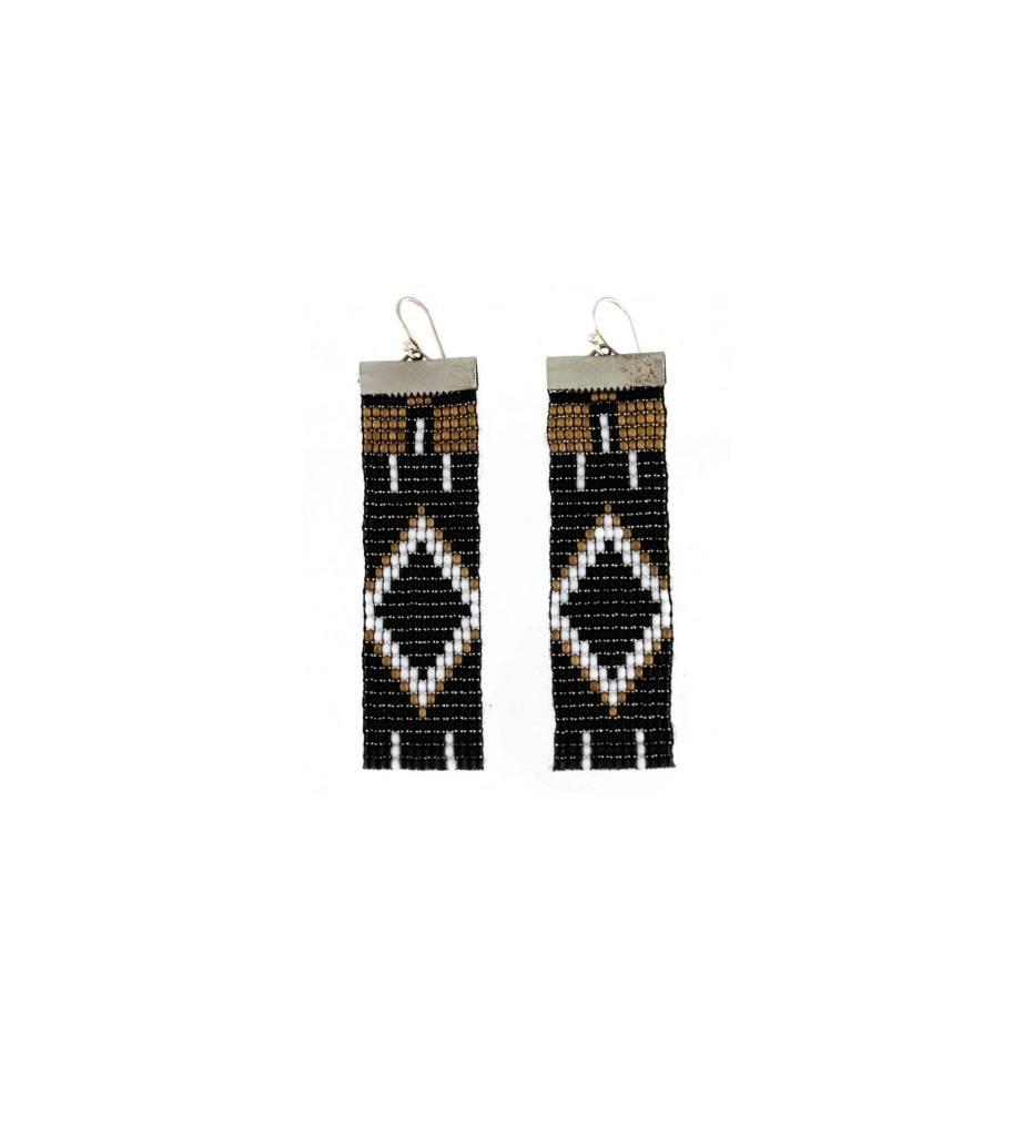 *GJ Beaded Strip Earrings Black/White/Gold Brown Beads
