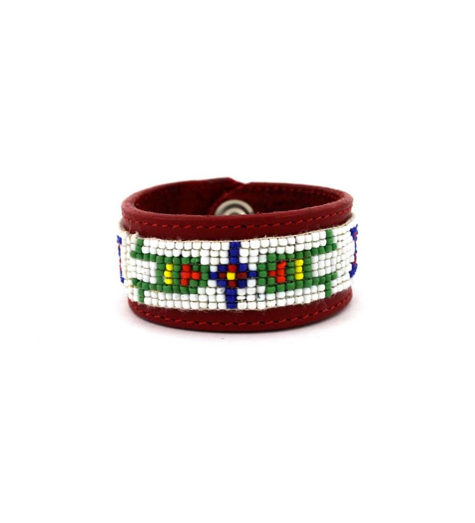 *GJ ForeWorn Leather Red/Beaded Bracelet
