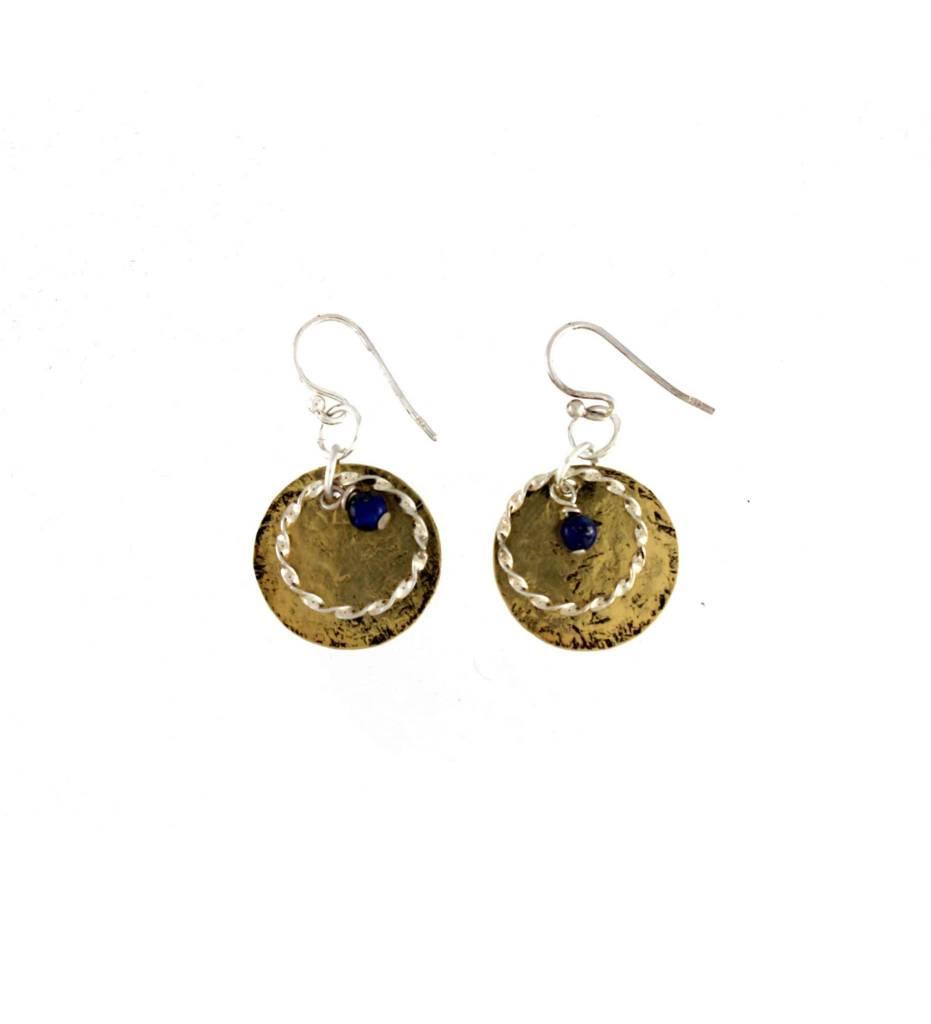 *GJ Brass/Silver/Lapis Earrings
