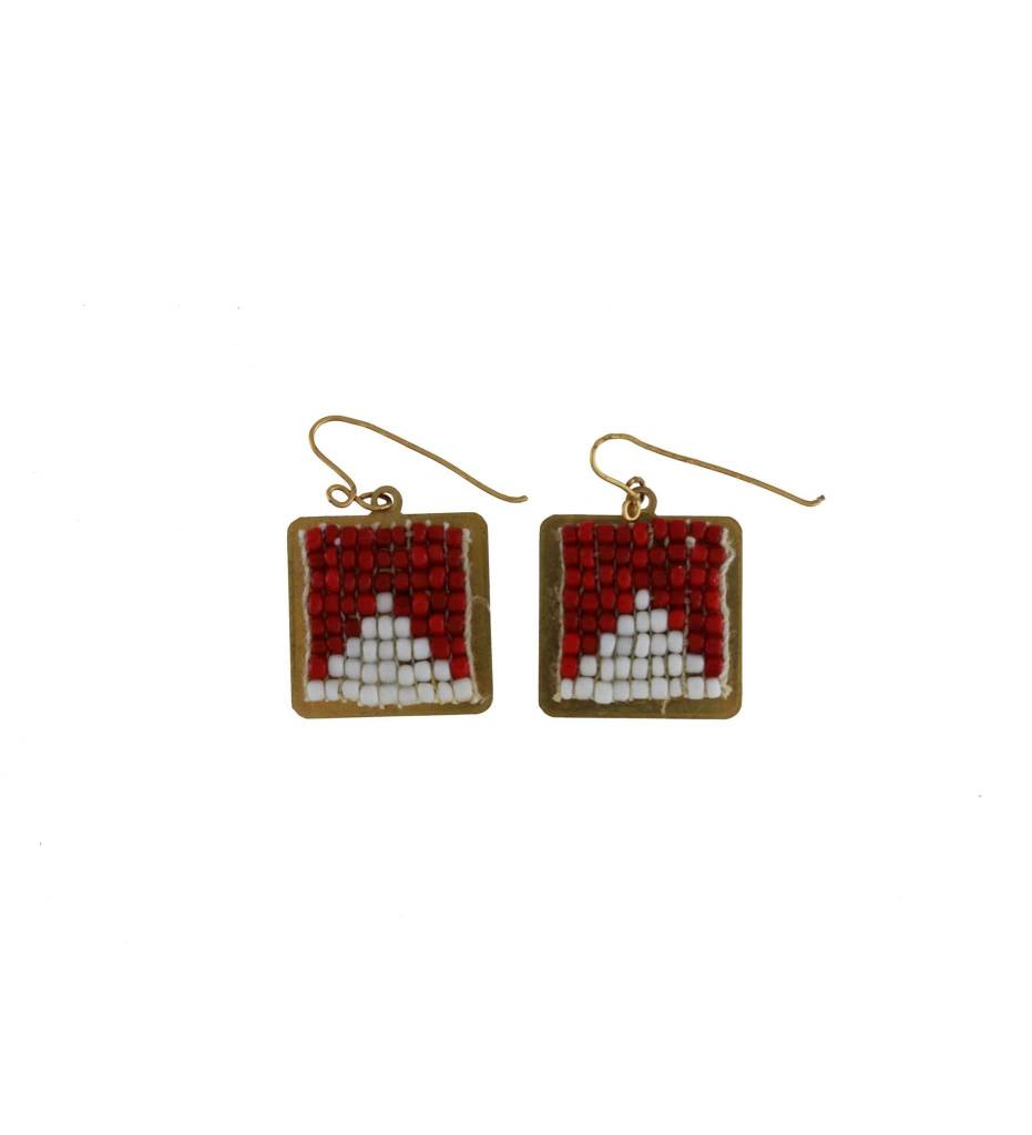*GJ Square Red & White Beaded Earrings