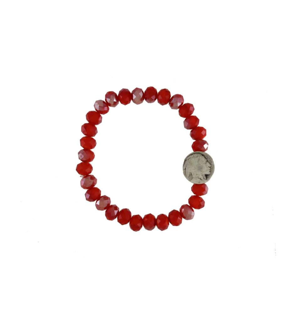 *GJ Orange Bead & Indian Head Bracelet