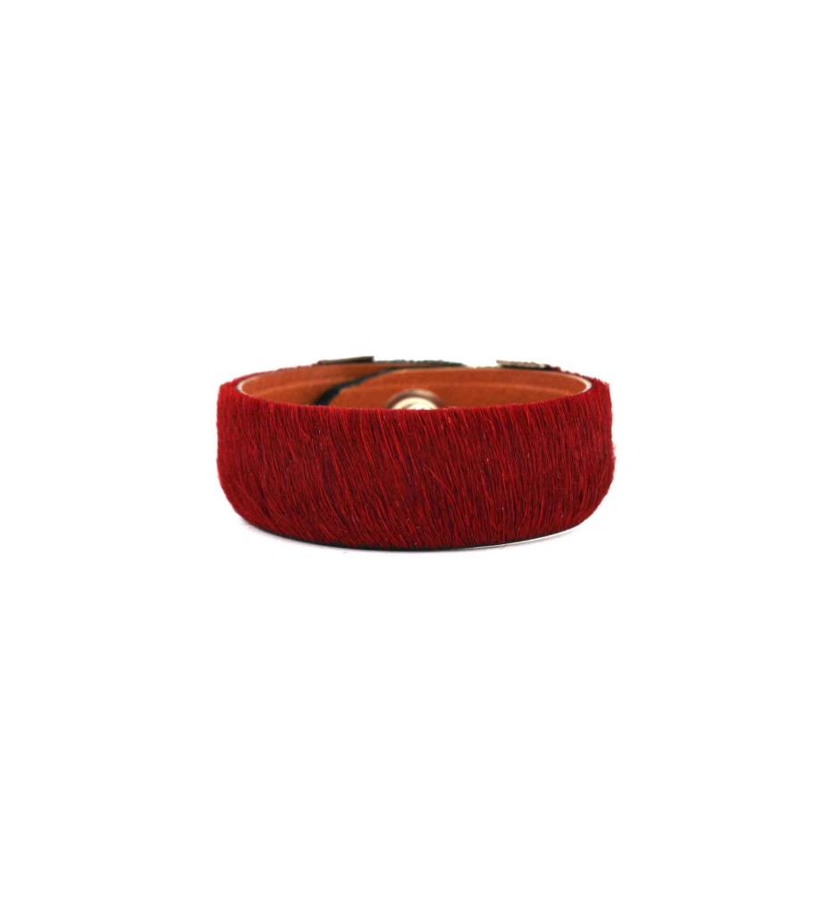 *GJ ForeWorn Leather Red Horsehair Bracelet